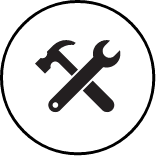 Icon showing hammer and wrench