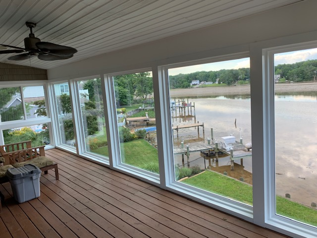 Sunroom Addition Built Above Deck by Clearview