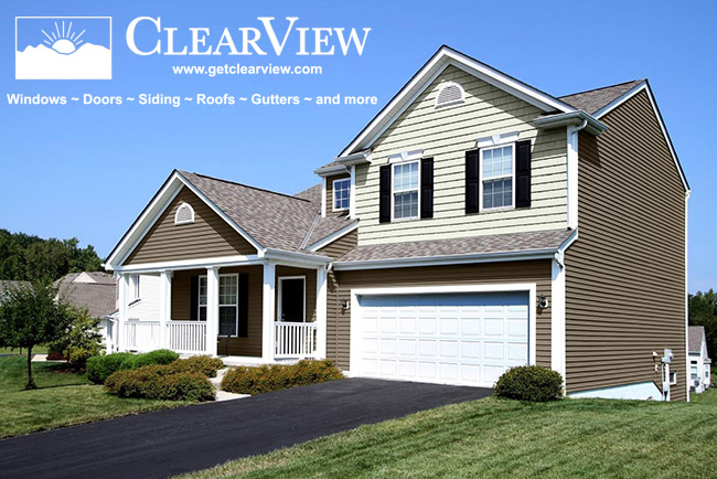Two color vinyl siding installed by ClearView. Vinyl Siding Company Maryland